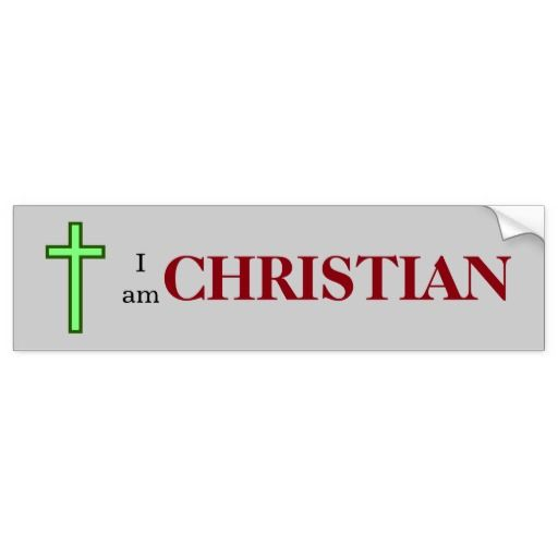 """I am CHRISTIAN"", with a green-colored cross"