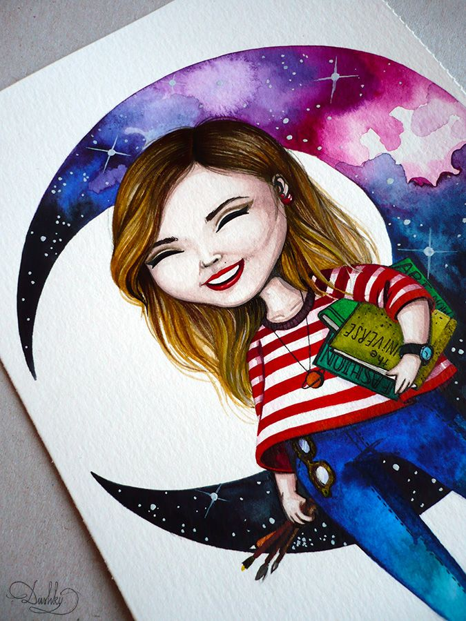 logo #dushky | #art #illustration #illustrator #artist #watercolor #logo #portrait #girl #moon #space #fashion