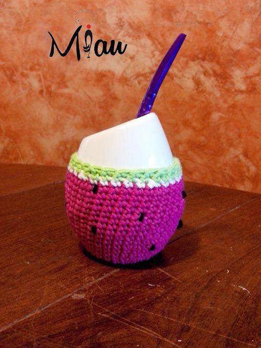 Mate con onda!! #matetejido, #sandias, #crochet, #miau. Consultas: anaramirez131@gmail.com