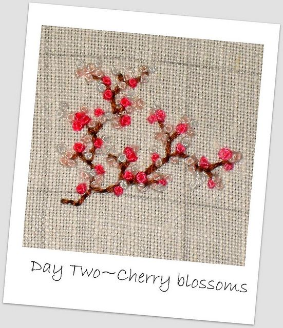 cherry blossoms made using french knots