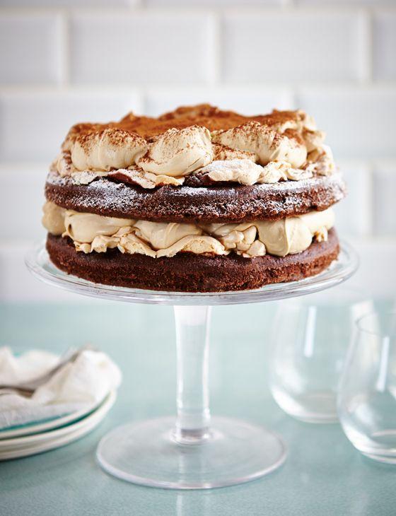 Chocolate sponge and meringue layer cake