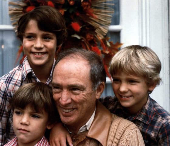 Then-prime minister Pierre Trudeau in 1982 with sons Justin,10, (upper left), Michel 7, (lower left), and Sacha 8