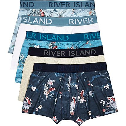 Blue floral print trunks pack £22.00