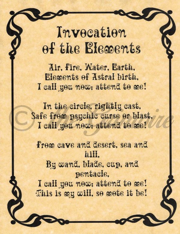 Invocation of the Elements, Book of Shadows Pages, BOS Page, Real Wiccan Spell picclick.com