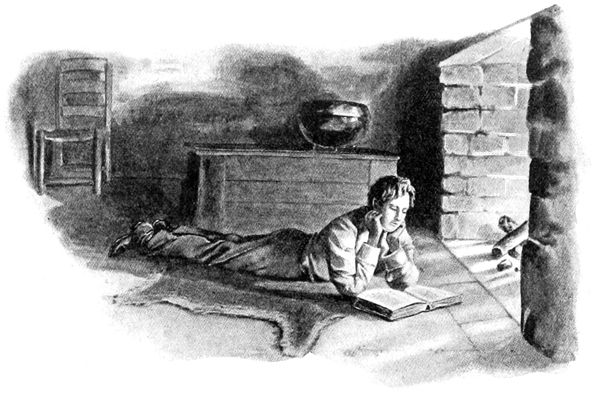 This picture portrays Abraham Lincoln as a child reading in the Lincoln's Indiana cabin
