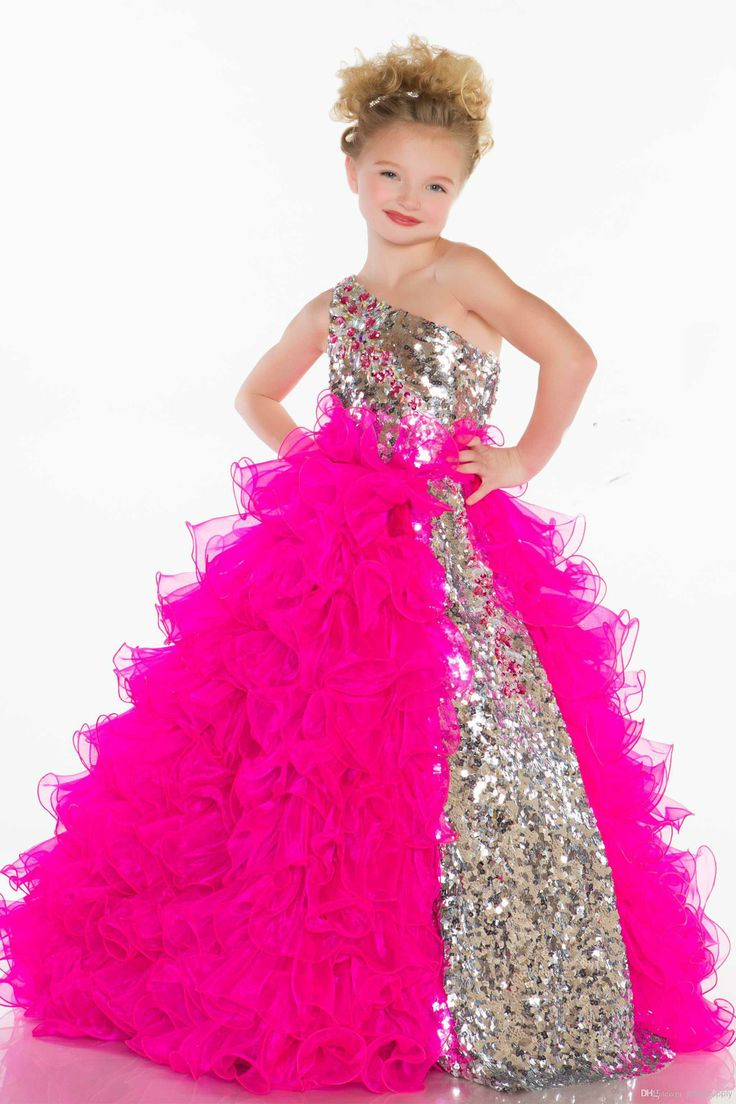Wholesale Girls Pageant Gown - Buy Fuchsia One Shoulder Sequins Girl's Pageant Gown Flower Girl Dresss with Organza Ball 42877S, $63.36 | DHgate