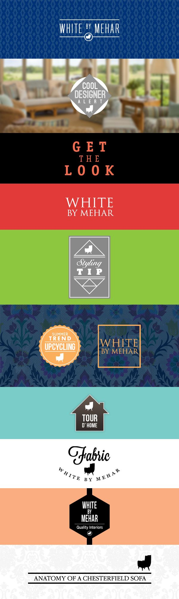 Logos for White by Mehar social media campaigns and segments.