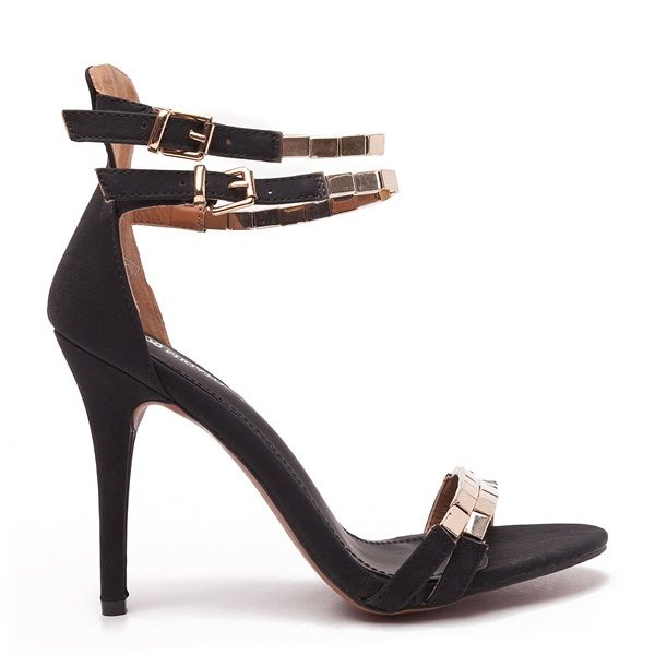 Black high heel sandals with slim double-strap, decorated with gold metallic detail.