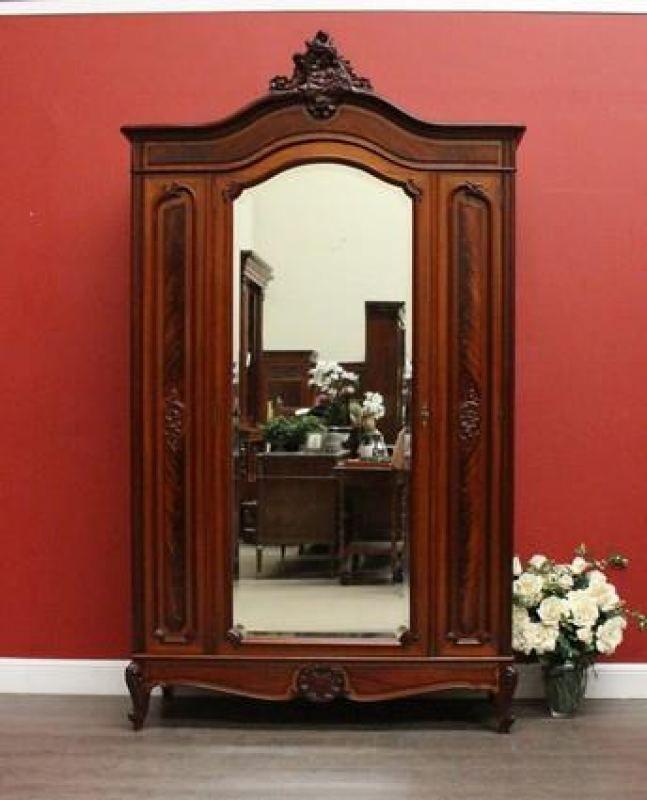 6414 - Antique French Mahogany and Mirror Armoire / Wardrobe