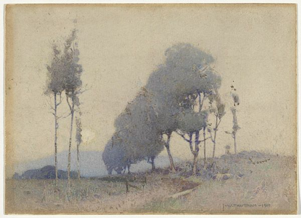 J.W. TRISTRAM Sydney, New South Wales, Australia 1872 – 1938 not titled [Landscape] 1919 watercolour image 26.3 h x 36.2 w cm The Oscar Paul Collection, Gift of Henriette von Dallwitz and of Richard Paul in honour of his father 1965. Accession No: NGA 65.88