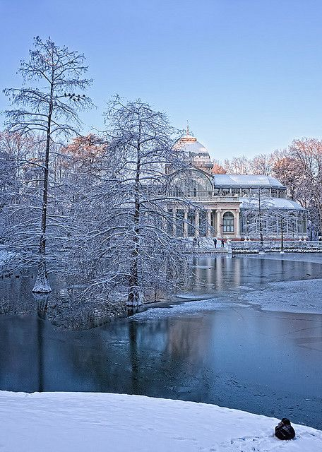 Snow in Palacio de Cristal, Madrid, Spain