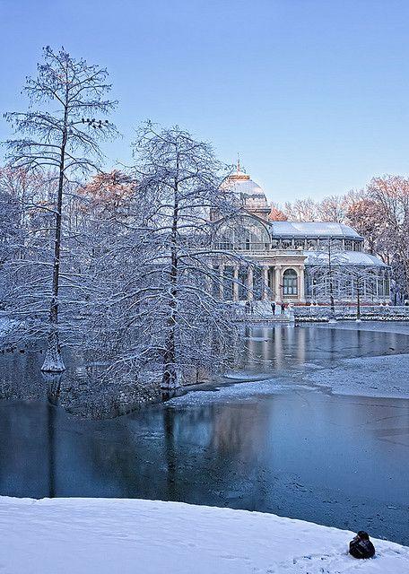Snow in Palacio de Cristal, Madrid, Spain