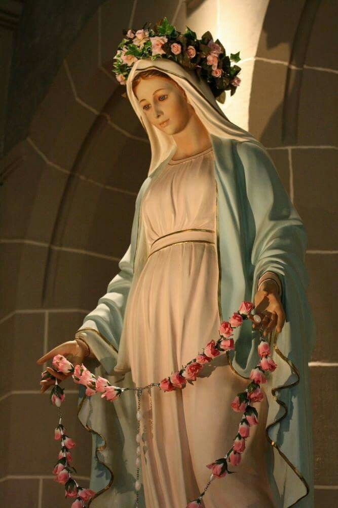 Mother Mary with pink roses