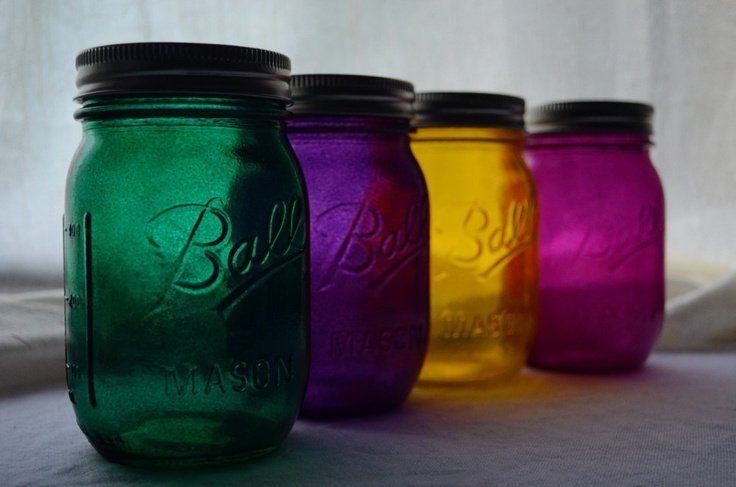 Stained Mason Jars Mixed Color Set of 4 by willowfairedecor   I have to figure out how she did these beautiful colors!
