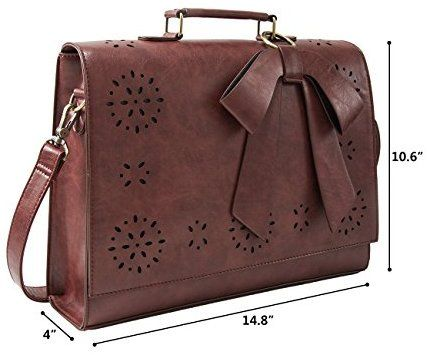 "Amazon.com: ECOSUSI Ladies PU Leather Laptop Bag Briefcase Crossbody Messenger Bags Satchel Purse Fit 14"" Laptop, Brown: Computers & Accessories"