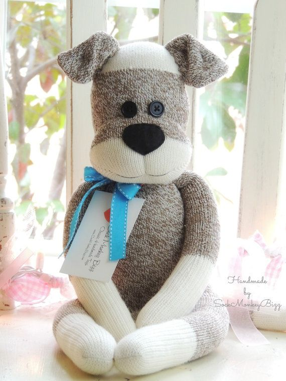 Sock Monkey Doll, Puppy Dog    This Sock Dog is a SockMonkeyBizz original design - I first designed and created him in 2010 when a customer