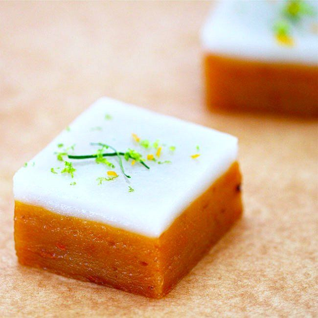 talam ubi (steamed sweet potato cake with coconut milk, lemongrass, and kaffir lime leaves)