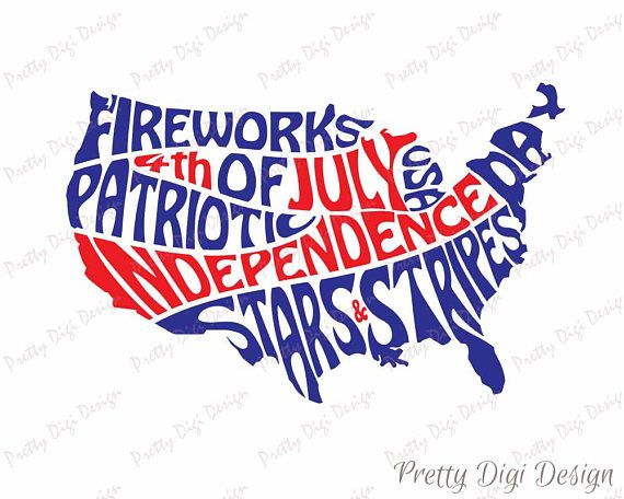 Digital 4th of July word art, USA jpg, png, pdf, eps, svg, Words in USA map shape, Independence day, Patriotic wall art, Stars and stripes