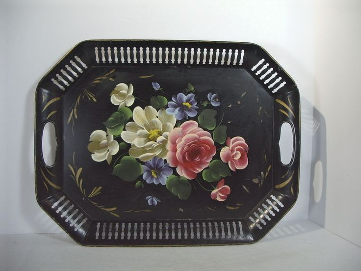 Tole Painting Serving Tray Vintage Tin Pierced Edge 8-Sided Black Roses Handles