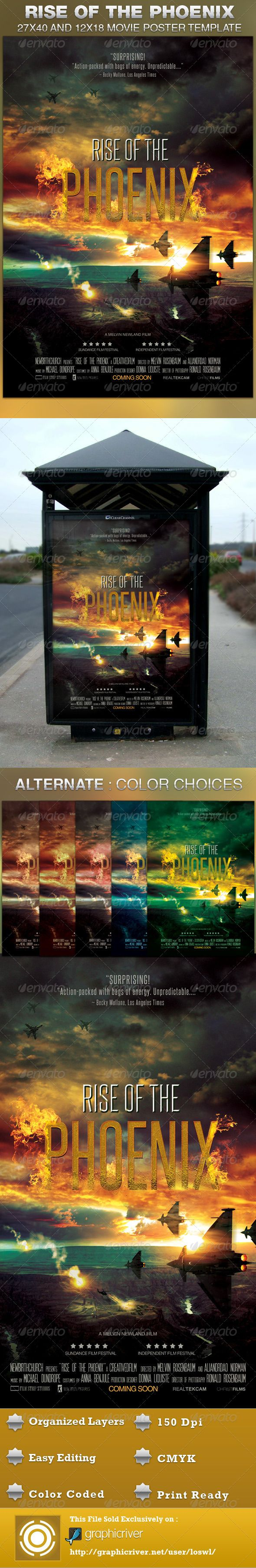 This Rise of the Phoenix Movie Poster Template is sold exclusively on graphicriver, it can be used for your movie promotion, event marketing, church movie night, sermon marketing etc. In this package you'll find 2 Photoshop files. All text and graphics in the file are editable, color coded and simple to edit. The file also has 10 one-click color options. $6.00