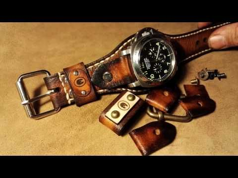6 in 1 leather watch strap, 20, 22 and 24 mm, stainless steel and bronze...