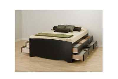 Bed Storage Platform Bedroom Set Queen Size Furniture Wood Drawers Mattress Blck