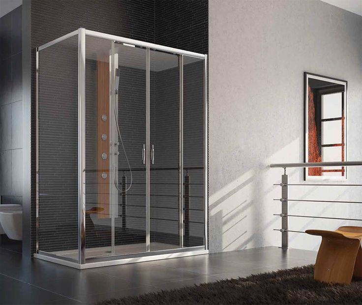 Box doccia angolare 2 ante scorrevoli, in vetro