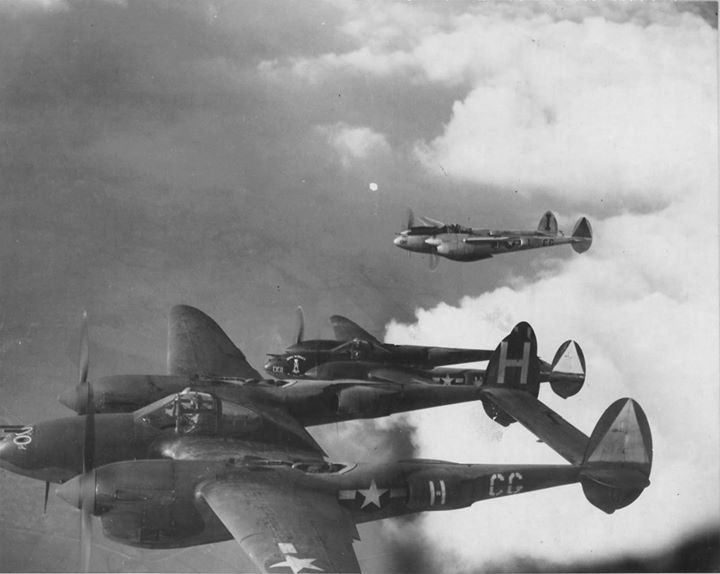 P-38H Lightning aircraft of 55th Fighter Group, US 38th Fighter Squadron over RAF Nuthamstead Airfield, England, en route to attack Southern France, February-April 1944. | wrhstol.com/2r210pe