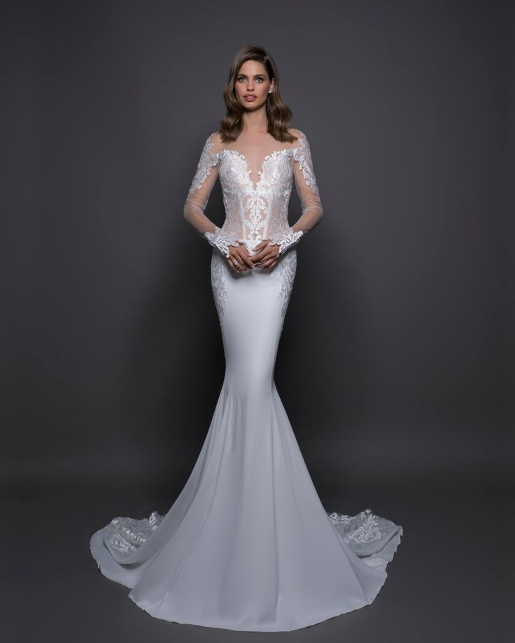 LOVE BY PNINA TORNAI | Illusion Neckline Mermaid Wedding Dress with Long Sleeves