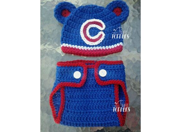 Crocheted CHICAGO CUBS  Hat and diaper cover by TinyTippyToppers