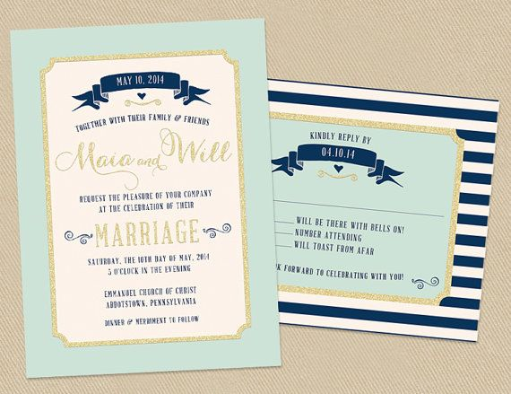 Mint Green And Gold Wedding Invitations: Wedding Invitation Set
