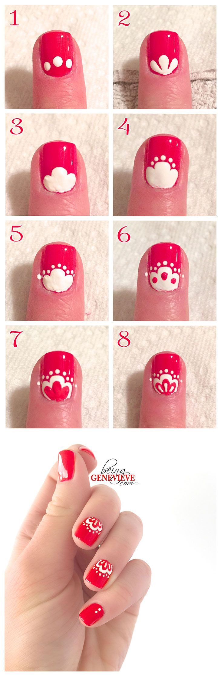 Oriental Lace Nail Art Design. Free picture step by step tutorial.