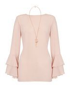 Womens *Quiz Pink Frill Sleeve Necklace Top- Pink