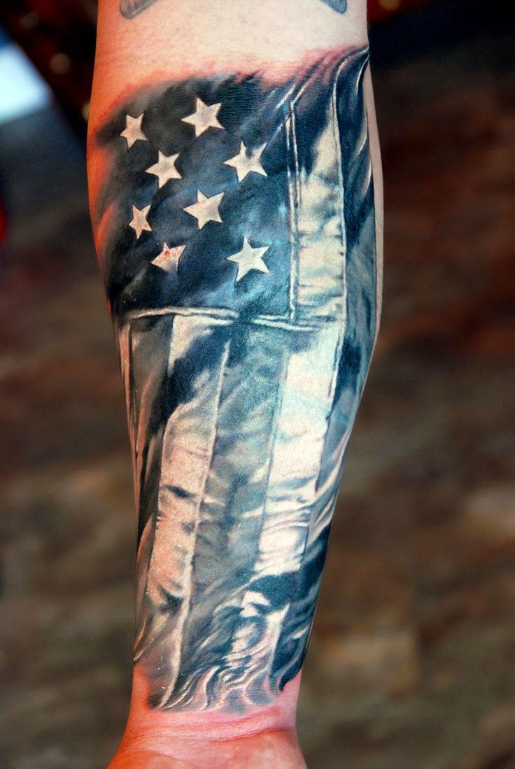 Greyscale American flag