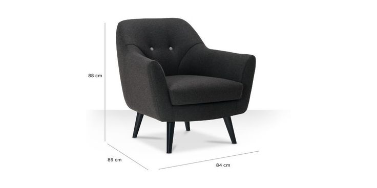 Swoon Editions Armchair, mid-century style in Charcoal - £379