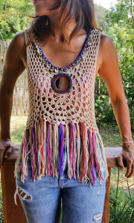 Spellmaya Handmade Crochet Top with Vintage Jewelry by SpellMaya