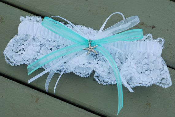 Beach Teal and White Wedding Garter with by GraceSmithDesigns, $10.50