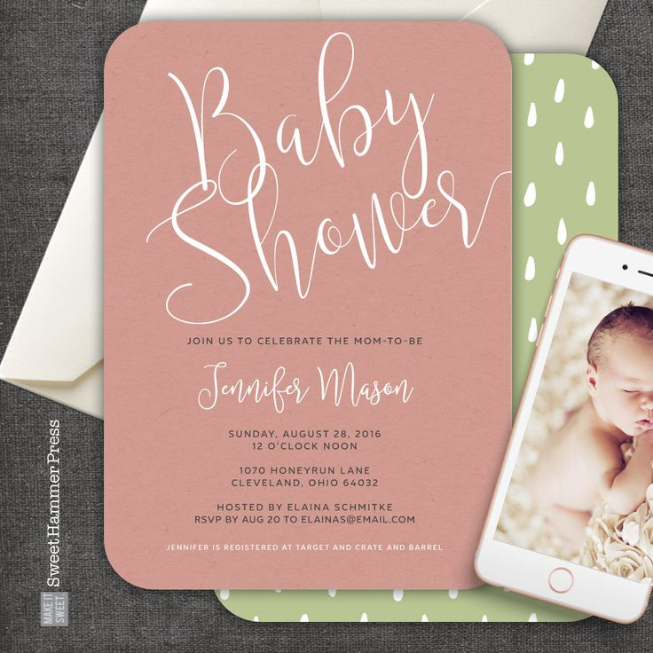 clever baby shower invitation wording%0A Printed Modern Baby Shower Invitations Simple Script on Pink or Blue with  Raindrops on Back Handwritten