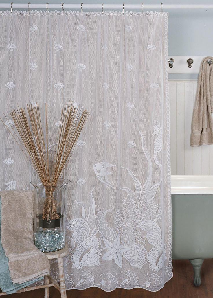 Seascape Fabric Shower Curtain by Heritage Lace  Bathroom  Beach Bathroom Ideas  Beach shower