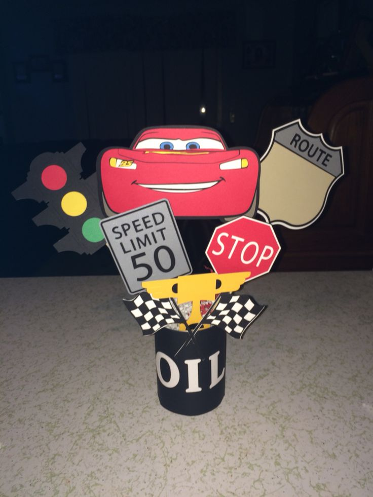 Cars centerpiece #diy #cars #disney #cricut #cricutexplore