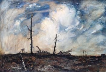 Adrian Hill: Ruins Between Bernafay Wood and Maricourt. 1918. A desolate bomb-damaged landscape, with the bare remains of a few buildings and trees. There is a cloudy blue sky above.