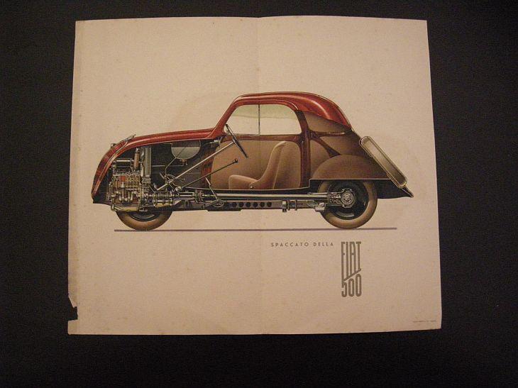 Vintage Antica Stampa Originale Anni 30 Automobile Fiat 500 Illustrazione Motore Meccanica Arredamento Arredo Casa Idee regalo Collezione di VintageBooksPrints su Etsy