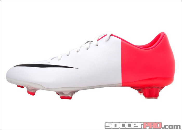 Nike Mercurial Miracle III Firm Ground Soccer Cleat - White with Solar Red  and Black.