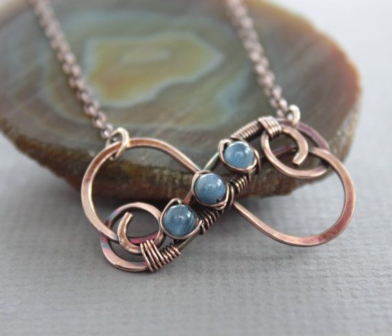 Copper infinity pendant on chain with small flashy blue kyanite stones - Infinity necklace - Friendship necklace