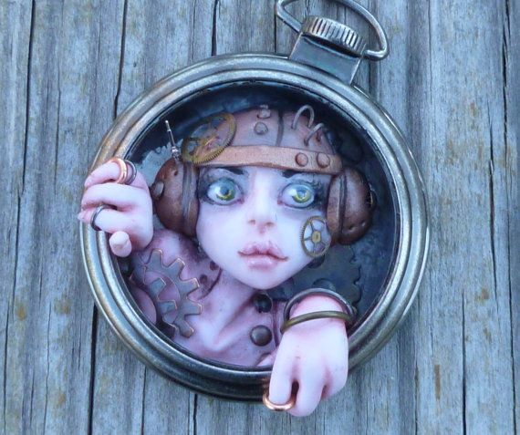 Handmade Polymer Clay Steampunk Pocket Watch Myxie Sculpture by MysticReflections,