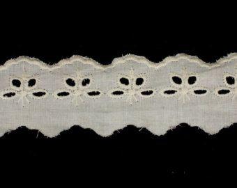 "19yds 1.5"" Natural Broderie Anglaise algodón ojal encaje de ajuste (artículo Vintage)"