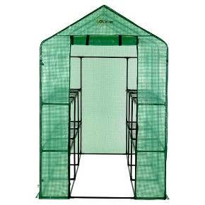 """If you are a garden hobbyist who would like to enjoy flowers and vegetables year round, the Ogrow 75"""" H x 49"""" W x 98"""" D Extra Large Heavy Duty WALK-IN 2 Tier 12 Shelf Portable Lawn and Garden Greenhouse is perfect for you. Our greenhouses are affordable, lightweight and easy to assemble. No hardware needed for assembly! Designed with special heavy duty high quality plastic connectors for easy 123 assembly. Perfect for your garden, lawn, and backyard and even for patios, decks, ..."""