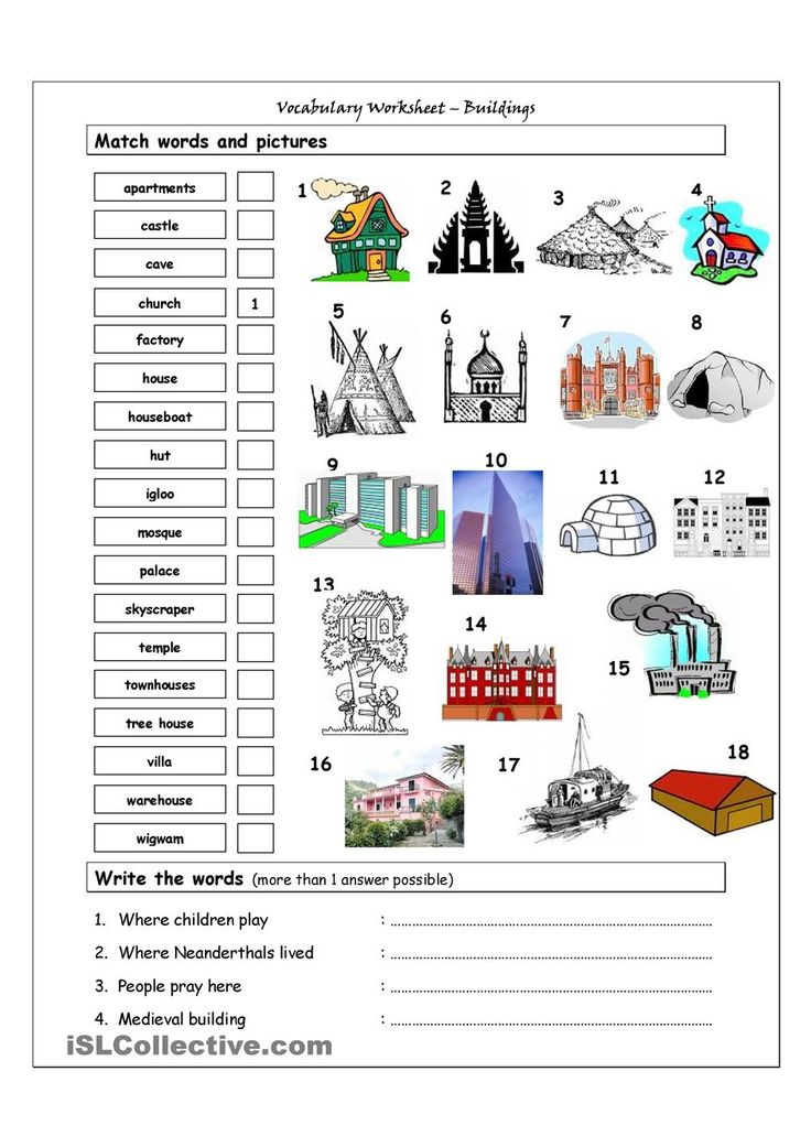 Vocabulary matching worksheet buildings english for Selection sheet for home selections for builders