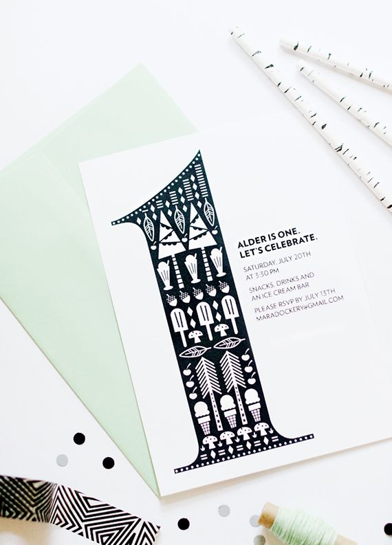Black and white 1st birthday invites for Alder by Mara Dawn | 100 Layer Cakelet