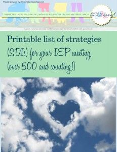 Printable list of strategies for IEP meetings & Another whole list just for sensory related